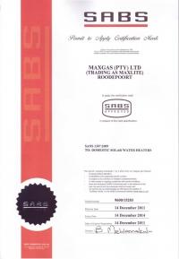 SABS Mark Certificate